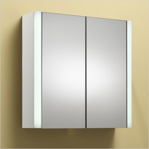 Qualitex Mirrored Cabinets - Monica 60 2 Door Mirrored Cabinet With Integrated Lights
