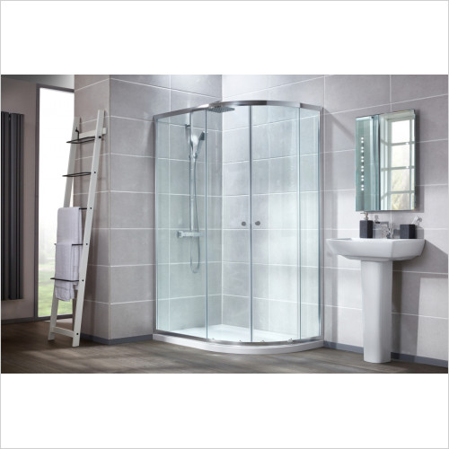 Frontline Enclosures - 900 x 760mm Offset Quadrant Enclosure & LH Shower Tray Pack
