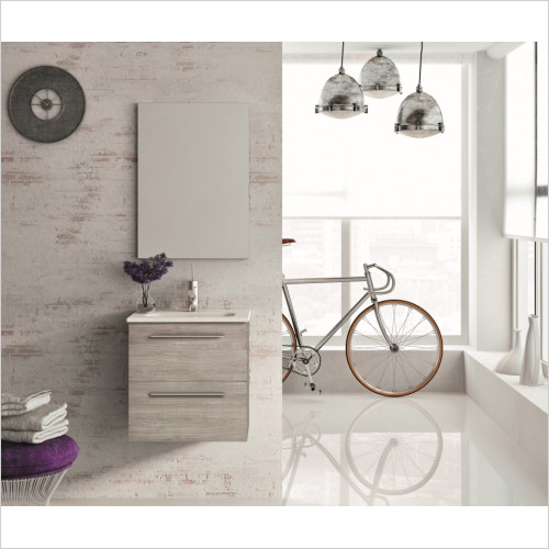 Street 2 Drawer Wall Hung Unit With Ceramic Basin & Mirror